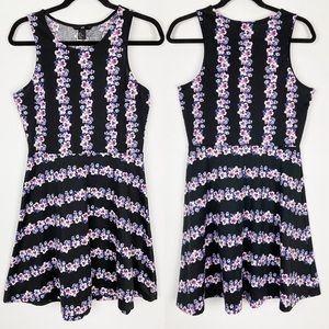 H&M Floral Stripe Fit & Flare Sleeveless Dress